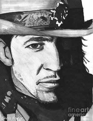 Stevie Ray Vaughan Drawing - Stevie Ray Vaughan by Chris Fader