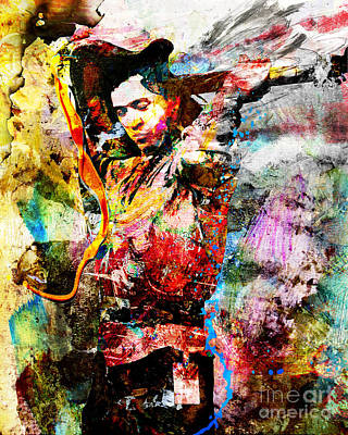 Srv Painting - Stevie Ray Vaughan Original by Ryan Rock Artist