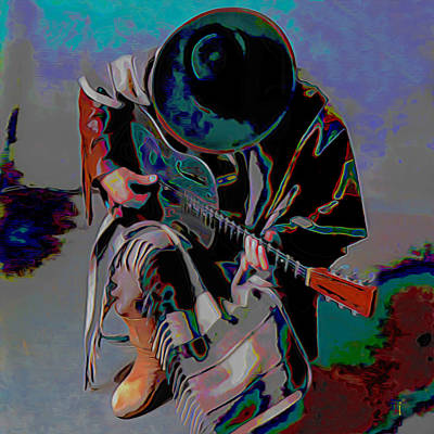 Modern Digital Art Digital Art Digital Art - Stevie Ray Vaughan Srv by  Fli Art