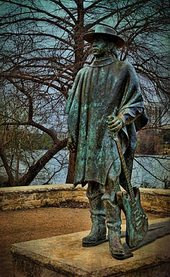 Photograph - Stevie Ray Vaughan Statue With Texture by Judy Vincent
