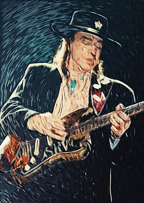 Digital Art - Stevie Ray Vaughan by Taylan Apukovska