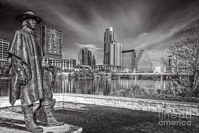 Austin Skyline Photograph - Stevie Ray Vaughn Statue In Austin Skyline by Tod and Cynthia Grubbs