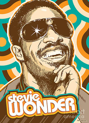 Music Digital Art - Stevie Wonder Pop Art by Jim Zahniser