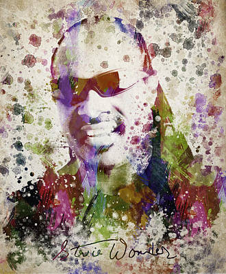 Autographed Digital Art - Stevie Wonder Portrait by Aged Pixel