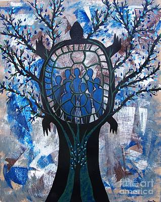 Painting - Stewards Of The Earth - Turtle Tree Of Life by Jean Fry