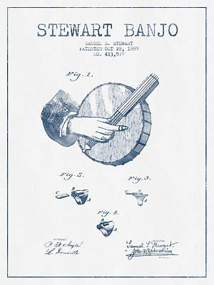 Stewart Banjo Patent Drawing From 1888 - Blue Ink Art Print by Aged Pixel