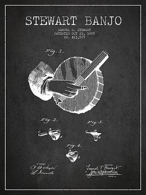 Stewart Banjo Patent Drawing From 1888 - Dark Art Print by Aged Pixel