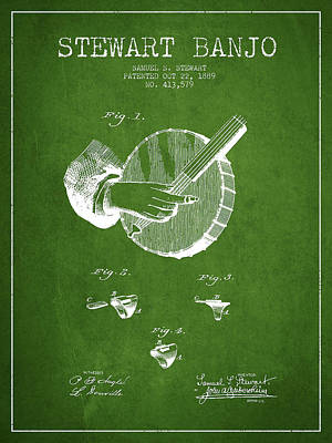 Stewart Banjo Patent Drawing From 1888 - Green Art Print by Aged Pixel