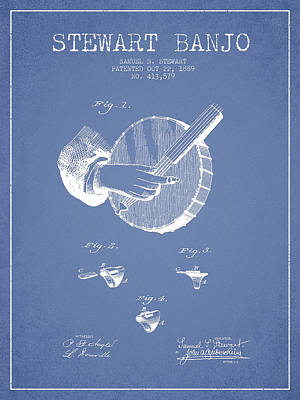 Stewart Banjo Patent Drawing From 1888 - Light Blue Art Print by Aged Pixel