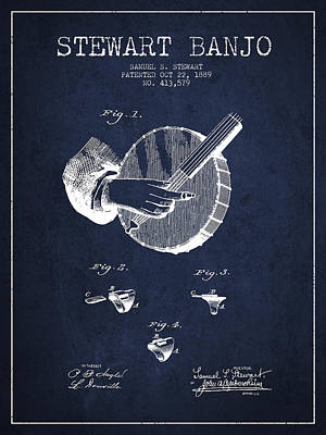 Stewart Banjo Patent Drawing From 1888 - Navy Blue Art Print by Aged Pixel