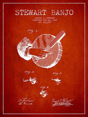 Folk Art Digital Art - Stewart Banjo Patent Drawing From 1888 - Red by Aged Pixel