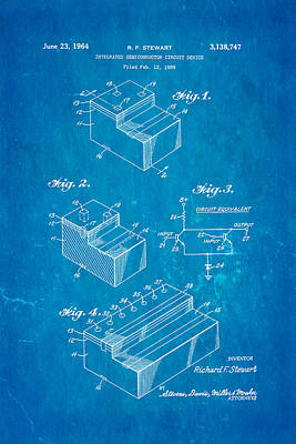 Stewart Integrated Circuit Patent Art 1964 Blueprint Art Print by Ian Monk