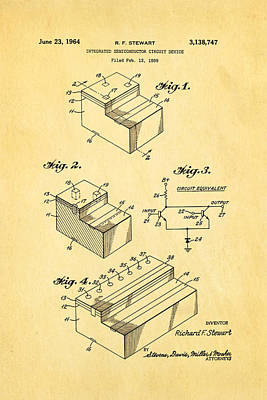 Stewart Integrated Circuit Patent Art 1964 Art Print by Ian Monk
