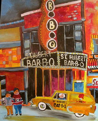 1953 Chevrolet. Montreal Canadiens Painting - St.hubert Bar-b-q by Michael Litvack
