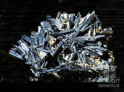 Inorganic Solid Photograph - Stibnite Crystals by Millard H. Sharp