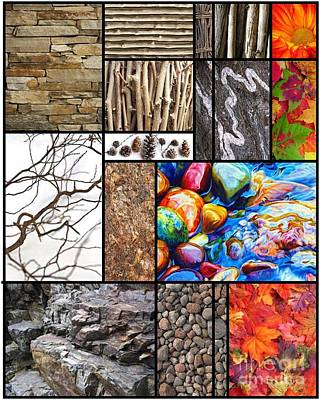 Collage Photograph - Sticks And Stones Collage by Andrea Cofferen
