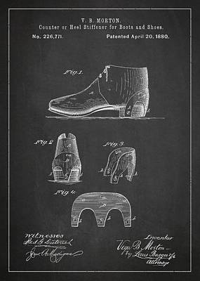Footwear Digital Art - Stiffner For Boots And Shoes Patent Drawing From 1880 by Aged Pixel