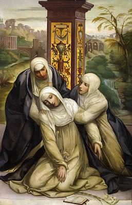 St. Catherine Of Siena Painting - Stigmatization Of St. Catherine Of Siena by Eduardo Rosales