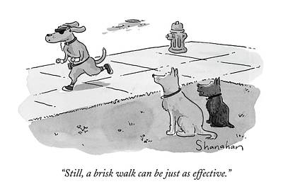 Dog Running Drawing - Still, A Brisk Walk Can Be Just As Effective by Danny Shanahan