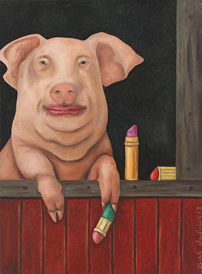 Swine Painting - Still A Pig by Leah Saulnier The Painting Maniac
