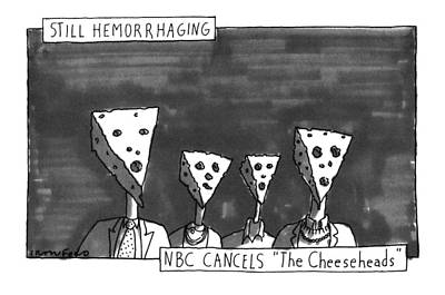Cheese Head Drawing - Still Hemorrhaging by Michael Crawford