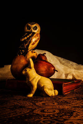 Still Life - Owl Pears And Rabbit Art Print by Jon Woodhams