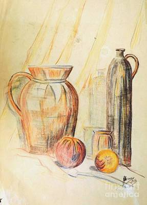Fruit Colored Pencil Drawing Drawing - Still Life 1955 by David Neace