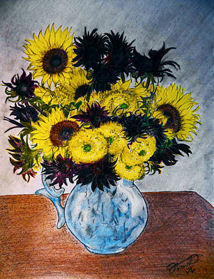 Still Life Drawings - Still Life 28 Sunflowers in Blue Porcelain Pitcher by Jose A Gonzalez Jr
