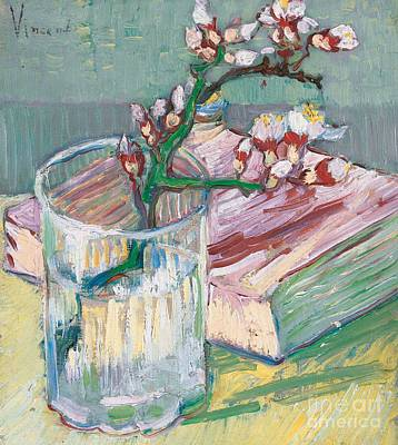 Gogh Painting - Still Life    A Flowering Almond Branch by Vincent Van Gogh