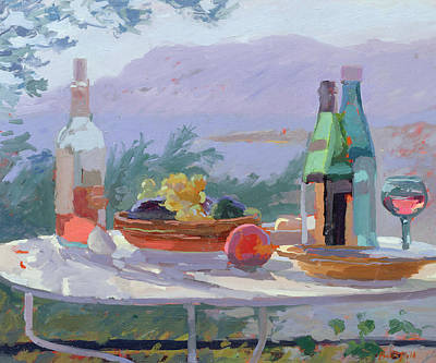Bottle Painting - Still Life And Seashore Bandol by Sarah Butterfield