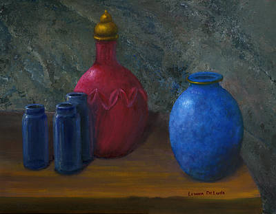 Still Life Art Blue And Red Jugs And Bottles Art Print