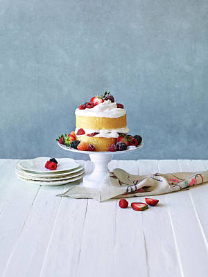 Photograph - Still Life Berry Cream Layer Cake by Annabelle Breakey