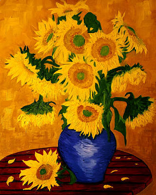 Still Life Drawings - Still Life - Blue Vase with 13 Sunflowers by Jose A Gonzalez Jr