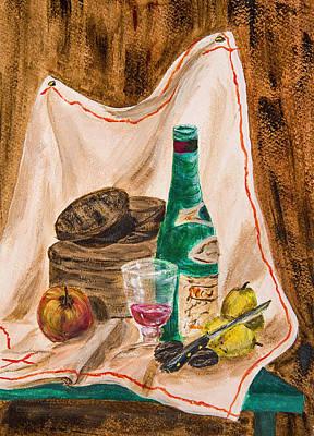Box Wine Painting - Still Life by Carole F Perrine