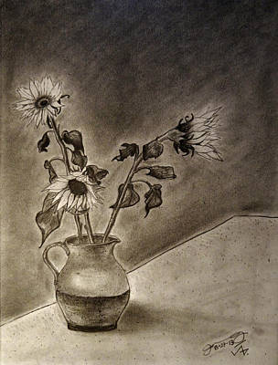 Still Life Drawings - Still life Ceramic Pitcher with Three Sunflowers by Jose A Gonzalez Jr