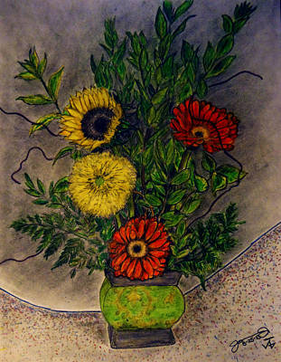 Gerbera Drawing - Still Life Ceramic Vase With Two Gerbera Daisy And Two Sunflowers by Jose A Gonzalez Jr