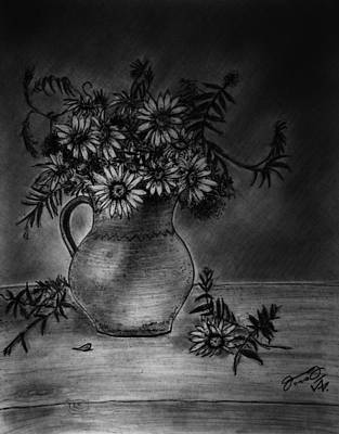 Still Life Drawings - Still Life Clay Pitcher With 13 Daisies by Jose A Gonzalez Jr