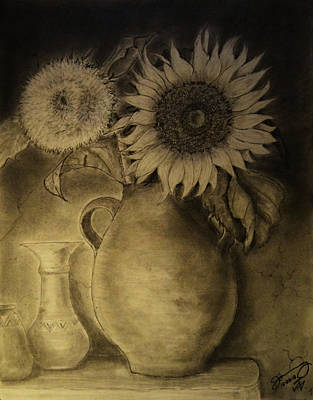 Still Life Drawings - Still Life Clay Pot with Two Sunflowers by Jose A Gonzalez Jr