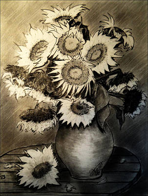 Still Life Drawings - Still Life - Clay Vase with 13 Sunflowers by Jose A Gonzalez Jr