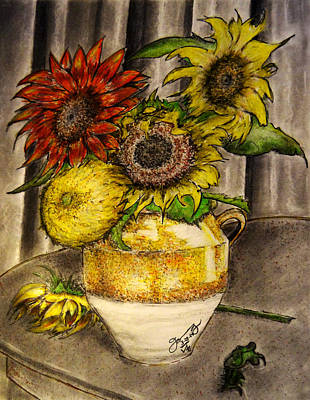 Still Life Drawings - Still Life Clay Vase with 5 Sunflowers by Jose A Gonzalez Jr