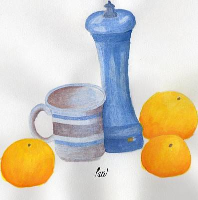 Still Life - Cup With Pepperpot And Oranges Art Print by Bav Patel