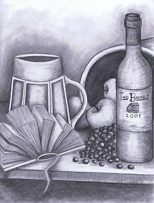 Grapes Drawing - Still Life Drawing by Kamil Swiatek
