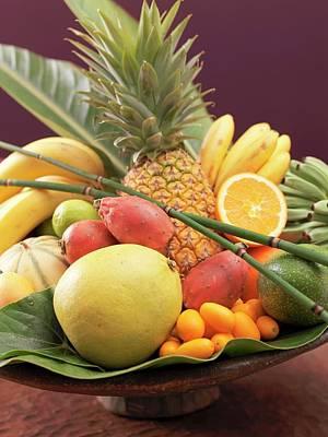 Still Life: Exotic Fruit In Wooden Bowl (detail) Art Print