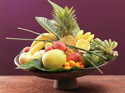 Still Life: Exotic Fruit In Wooden Bowl Art Print