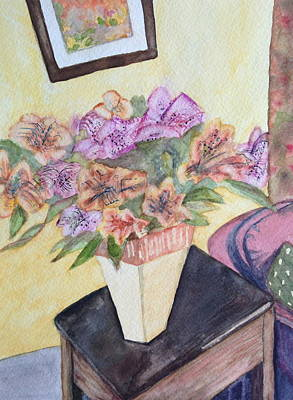 Painting - Still Life Flowers In Room by Carol Warner