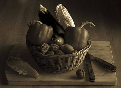 Still Life For A Vegetarian In Monochrome Art Print by Julis Simo