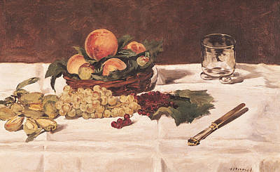 Impressionist Photograph - Still Life Fruit On A Table, 1864 Oil On Canvas by Edouard Manet