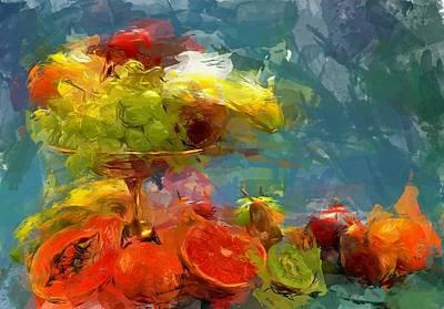 Still Life Fruits In Vase Print by Yury Malkov