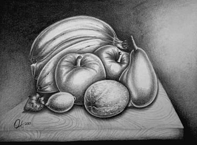 Healthy Eating Drawing - Still Life Fruits by Owen Lafon