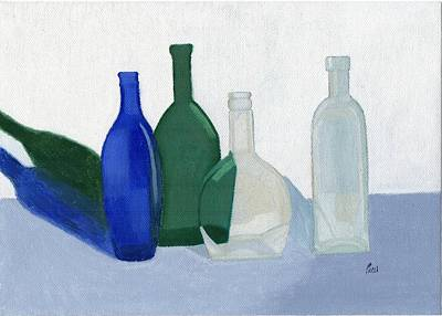 Still Life - Glass Bottles Art Print by Bav Patel